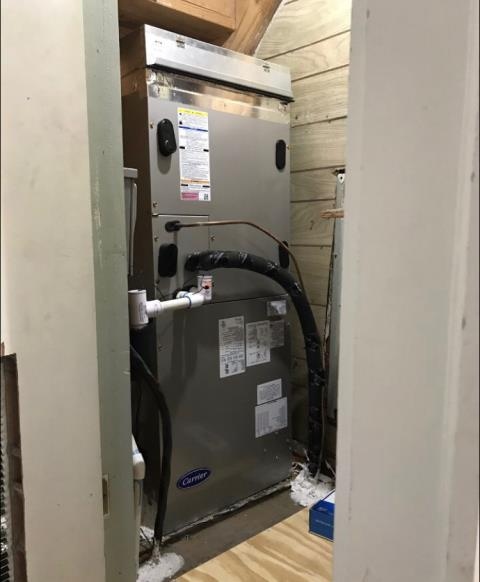 Webberville, TX - Furnace repair Elgin. The thermostat is wired incorrectly and not wired for a heat pump. Re-wire stat and system is now heating.