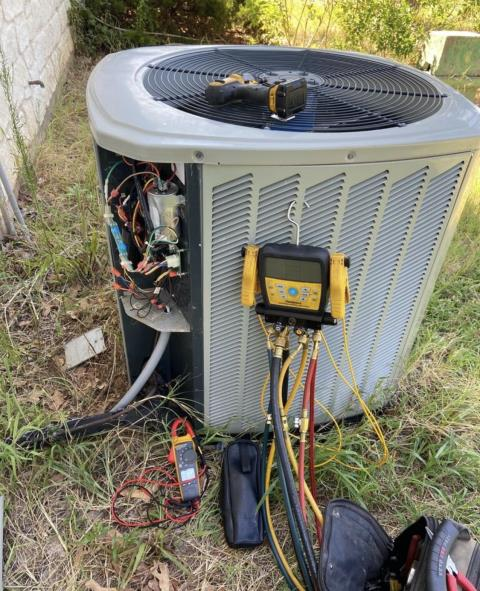 Bastrop, TX - HVAC repair. The outdoor unit is not coming on. Replace the outdoor fan motor. The air conditioner is cooling properly at this time.