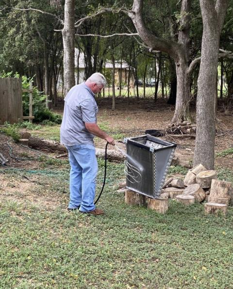 Smithville, TX - AC maintenance. Perform routine maintenance on ac system. Clean the coil, change the filter, check operations. The ac is cooling properly at this time.