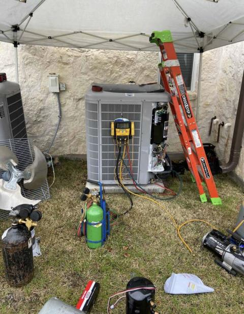Cedar Creek, TX - AC repair. The ac is not coming on. Replace the variable speed compressor and check operations. The ac is working properly at this time.