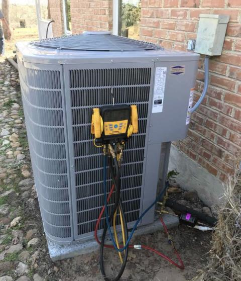 Bastrop, TX - Air conditioning and heating companies. Perform heating check on HVAC system. The HVAC system is heating properly at this time.