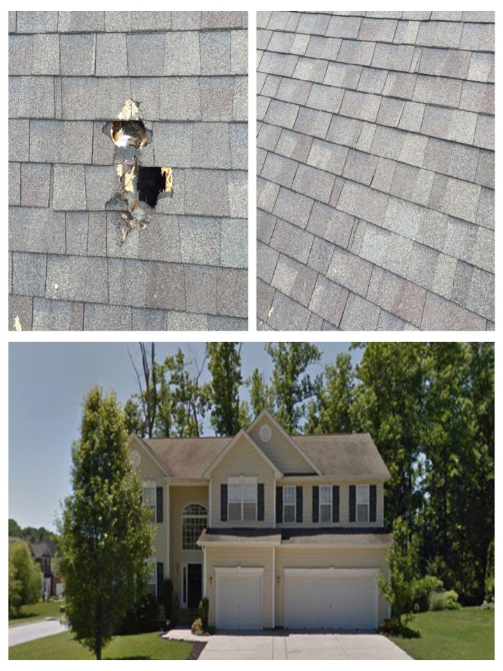 Getting Another Roof Repair Completed Today, This Home Had A Tree Limb Go  Through The