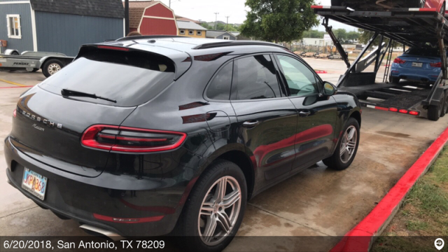 San Antonio, TX - Transported a 2017 Porsche Macan from San Antonio, TX and delivered it to Pacific, WA