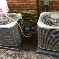 Columbus, OH - Performed a Spring Season tune-up and safety check on two Carrier 13 SEER 2 Ton Air Conditioners as part of a yearly service maintenance agreement. Added 1.5 lbs of Puron to one system and 1.25 lbs of Puron to the other. Both units are up and ready for the summer weather.