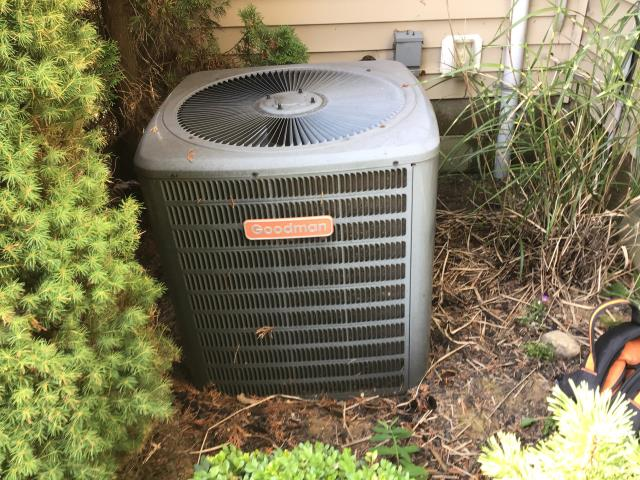 Etna, OH - Tune Up performed on a 2002 Goodman AC Unit. Found filter in need of replacement and outside coil in need of cleaning. Cleaned outside coil & filter replaced. After Tune up  tech has determined that unit is within manufacturers specifications and ready for use.