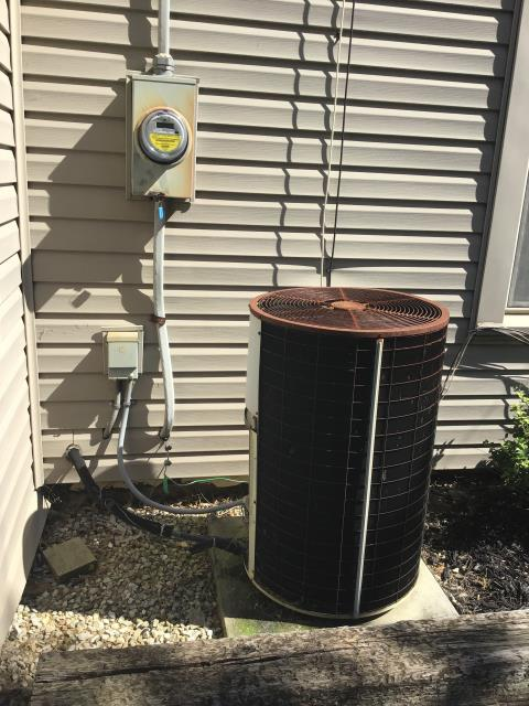 Groveport, OH - Diagnostic Service Call- RHEEM system. Customer states unit not cooling  found 35/5 capacitor at 34/0  replaced at customer request  unit still not kicking on  went to furnace and found voltage at 8.7 at yellow and 8.5 at red.  Furnace works in heating mode, but voltage not accurate  checked 120 volts coming in to furnace, reading at 0, but furnace still works in heat mode  furnace is oil burning.  requesting senior tech for further diagnostic  leaving capacitor on, charge for it or take it off once further diagnostic takes place