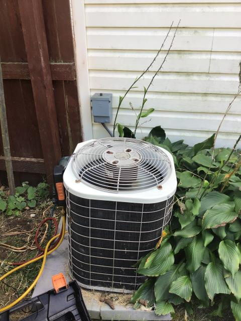 Blacklick, OH - Diagnostic Service Call on Bryant system. Customer states water was leaking from unit. He took shop vac and sucked out good amount of debris causing obstruction. Found condensate line to be clear. Took door off of evaporator coil and found no obstructions in pan.  leakage has caused water damage to the floor surrounding unit.  Checked pressures to ensure proper freon levels  71/215 with a 35 degree evaporator coil temp and 27/25 super heat.  Good according to check charge  as of now, unit seems to be leak free and operating as expected at this time