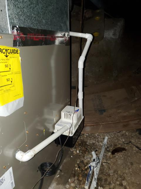 Columbus, OH - Installed condensate pump and  cleared plastic drain, ran new pvc pipe from evap coil to pump.
