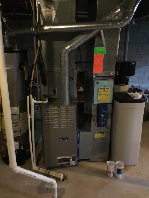 Etna, OH - Pre season tune up/check out on a Carrier brand furnace. heat check on 2003 Bryant 80%. Checked all amp draws, ohms on igniter and combustion analysis. All were ok.