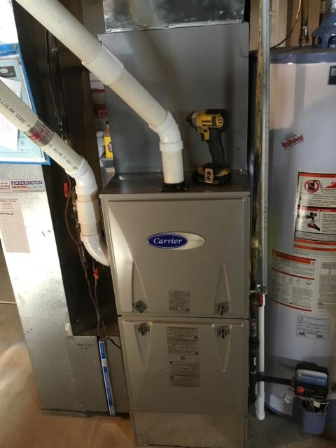 Pickerington, OH - Furnace tune - up and safety check performed on a Carrier Gas furnace unit. Confirmed that the system is working within manufacturer specifications.  Pictured is the customer's Carrier Gas Furnace Unit.