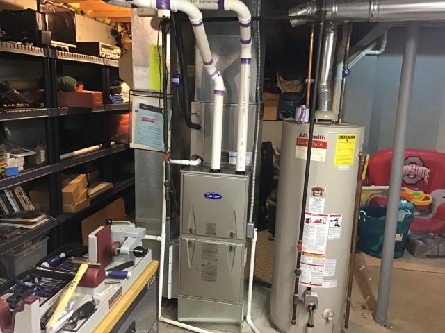 Reynoldsburg, OH - Carrier furnace installation. The system is running properly and is ready to heat this winter season.