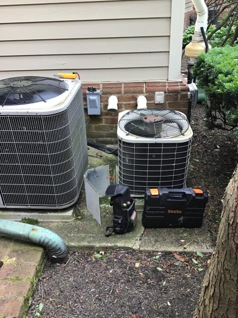 New Albany, OH - Attic unit, very tight space Found AC not cooling. Something grounded in AC causing hard start, cap and contacter to get damaged. Condenser fan blades/ motor do not turn as easily as it should. With unit being from 1996 and not sure of what other potential damage could have been created, customer opting to replace