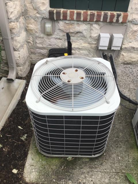 Westerville, OH - Unit low on R22 causing coil to freeze. Furnace in attic has secondary pan that is full of water, condensation line clear.the 2004 Bryant Unit needs recharging or replaced due to age and cost of repair vs cost of replace