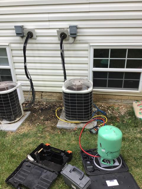 Blacklick, OH - I added 1 pound of Refrigerant R-22 Freon to a 2002 Bryant Air Conditioner