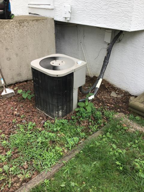 Reynoldsburg, OH - The Goodman unit is from 2003, Water leaking into laundry room,  filter completely clogged. Furnace looks in bad shape. Evidence of coil freezing up. Found blower motor needs cleaned. Found evaporator coil in need of cleaning. Outdoor coil has significant damage on right corner. Could be causing a refrigerant leak.