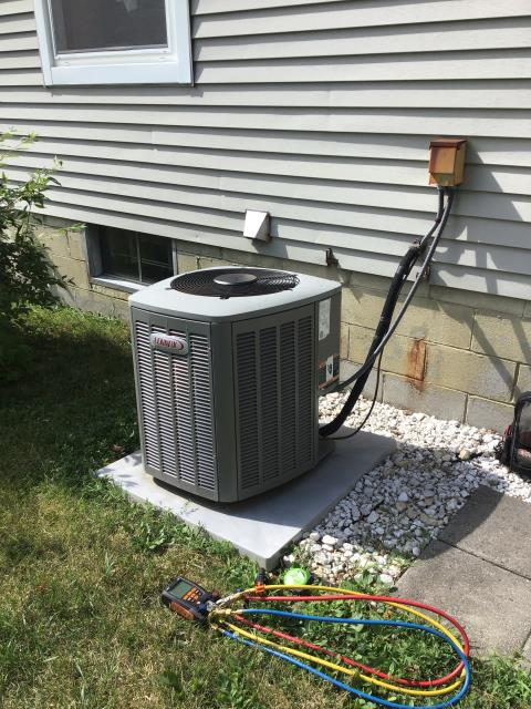 Reynoldsburg, OH - Customer had water buildup. Cleared clog from pvc and washed it with bleach and water