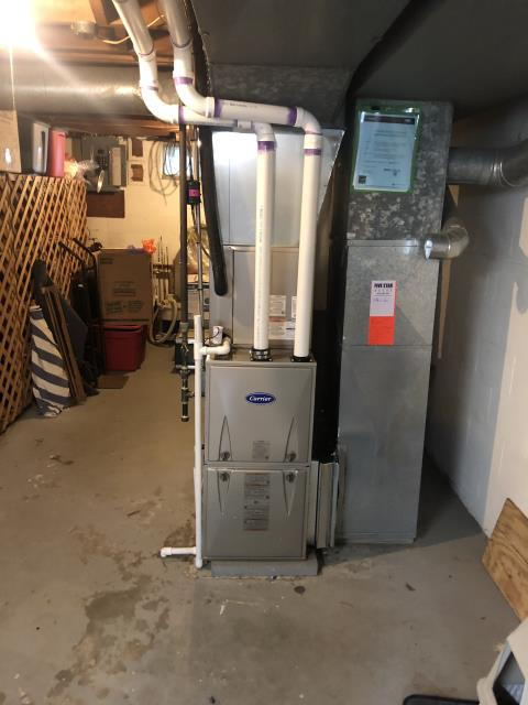 Groveport, OH - During a tune up on a Carrier 96% 60,000 BTU Gas Furnace, I pulled and cleaned the flame sensor. I recommend that customer replace filter soon. Furnace is running properly at this time.