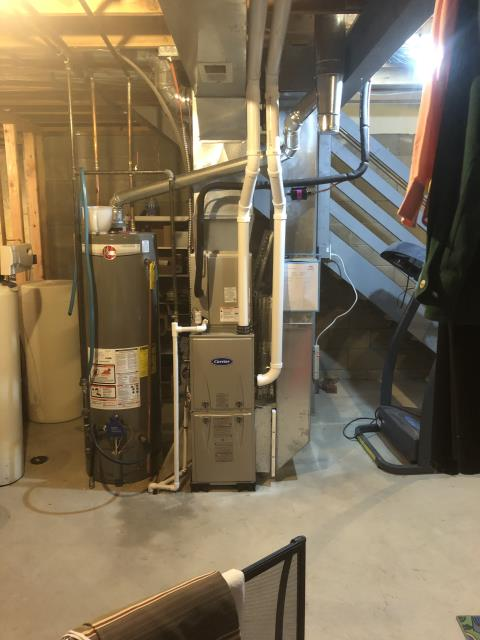 Pataskala, OH - During a tune up on a Carrier 96% 60,000 BTU Gas Furnace, I cleaned the trap out and checked for blockage in the drain line. I also checked all wiring and pipes for obstruction. All readings are within manufactures specifications at this time.