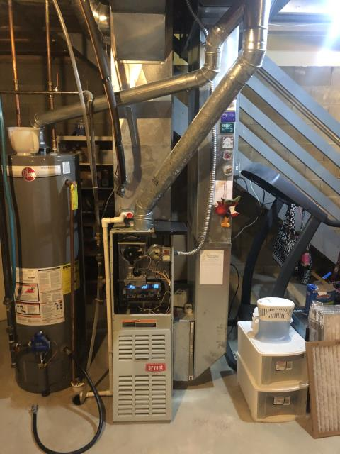 Pataskala, OH - I found that the water leakage was from the water softener, not the furnace. I tuned the water off to the softener and helped customer turn on valve to water softener and fix water issues. All good at this time.