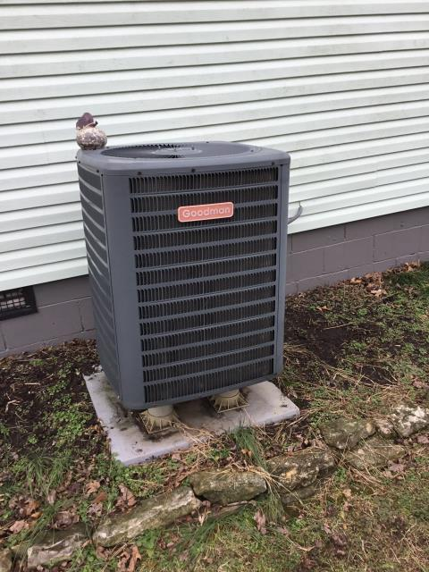 Lancaster, OH - I completed spring tune up on a Goodman heat pump.  I visually inspected the furnace.  I inspected the evaporator coil.  I checked the temperature difference across the coil.  Checked voltage and amps.   Inspected heat pump.  Checked refrigerant charge, voltages and amps.  I rinsed the condenser coils with water.  Cycled and monitored the system.  Operating normally at this time