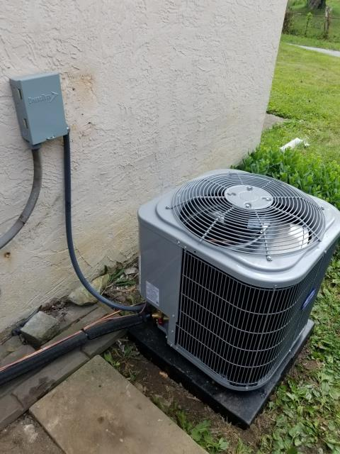 Columbus, OH - I completed the scheduled maintenance agreement cooling tune up on a Carrier 13 SEER 2 TON Air Conditioner.  I visually inspected the unit.  Checked voltages, amps and pressures. I inspected the evaporator coil.  I checked the temperature difference across the coil.  Inspected heat pump.  Checked refrigerant charge, voltages and amps.  I rinsed the condenser coils with water.  Cycled and monitored system.  All operating normally at this time.