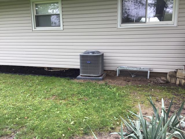 Carroll, OH - I completed the scheduled maintenance agreement cooling tune up on a Carrier air conditioner.  I visually inspected the unit.  Checked voltages, amps and pressures. I inspected the evaporator coil.  I checked the temperature difference across the coil.  Inspected heat pump.  Checked refrigerant charge, voltages and amps.  I rinsed the condenser coils with water.  Cycled and monitored system.  All operating normally at this time.