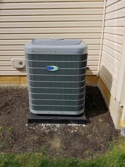 """Galena, OH - I completed New Installation on  Carrier """"Infinity Series"""" 96% Variable Speed Two-Stage 100,000 BTU Gas Furnace, Carrier """"Infinity Series"""" 19 SEER Variable-Speed 4 Ton Air Conditioner, 20"""" return air base, 20"""" Media Cabinet and removal of previous equipment 2001 Bryant Furnace and 2001 Bryant Air Conditioner Unit."""