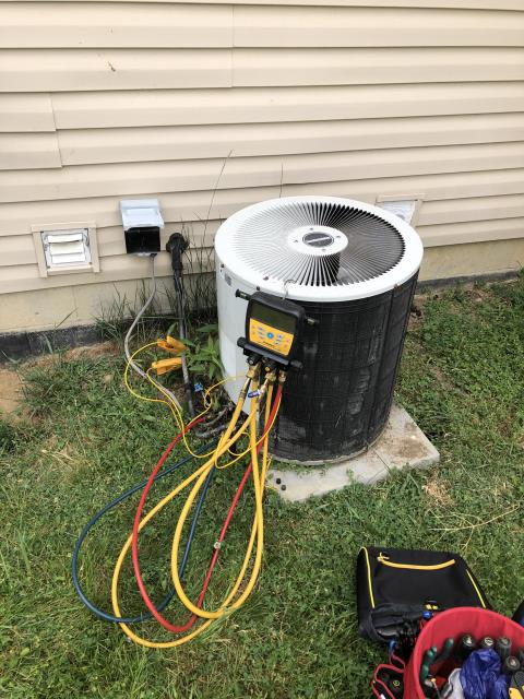 Blacklick, OH - I performed diagnostic on Comfortmaker Air Conditioner. I determined that System has a leak and was very low on refrigerant. I gave customer Estimate for repair and replacement. Customer choose to replace unit due to age, condition and costs of repairs now and on going.