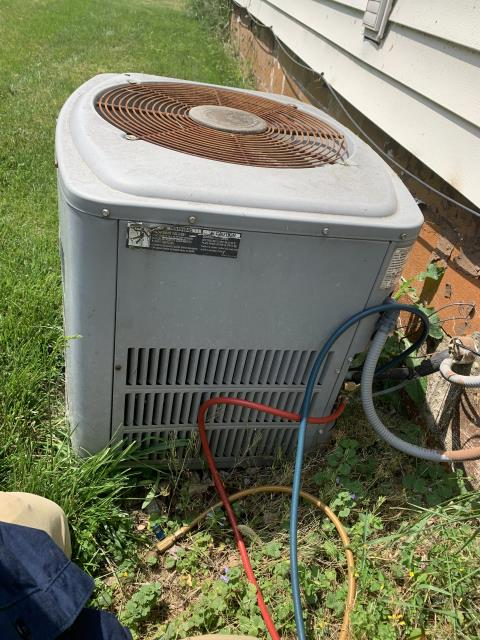 Lancaster, OH - I completed diagnostic on American Standard Air Conditioner. I determined that Condenser fan motor was not spinning, bearings completely seized up. Customer also believes there may be a leak in the system. I am sending quotes for repair and replacement to customer to consider.