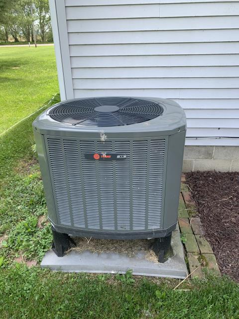 Carroll, OH - I completed the scheduled maintenance agreement cooling tune up on a Trane heat pump.   I inspected the evaporator coil.  I checked the temperature difference across the coil.  Checked voltage and amps.   Inspected heat pump.  Checked refrigerant charge, voltages and amps.  I rinsed the condenser coils with water.  Cycled and monitored systems.  All operating normally at this time.