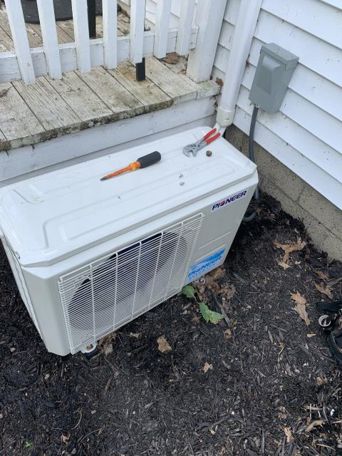 Carroll, OH - I completed a diagnostic service call on a Pioneer mini split system. I determined that the Schrader valve needed to be replaced as it was causing a leak of refrigerant. Tightened cap to prevent, will return later in week to replace the valve.