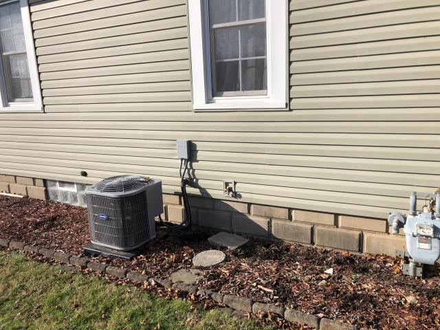 Lancaster, OH - I completed the scheduled maintenance agreement cooling tune up on a Carrier air conditioner.  I visually inspected the unit.  Checked voltages, amps and pressures. I inspected the evaporator coil.  I checked the temperature difference across the coil.  Inspected heat pump.  Checked refrigerant charge, voltages and amps.  I rinsed the condenser coils with water.  Cycled and monitored system.  All operating normally at this time.