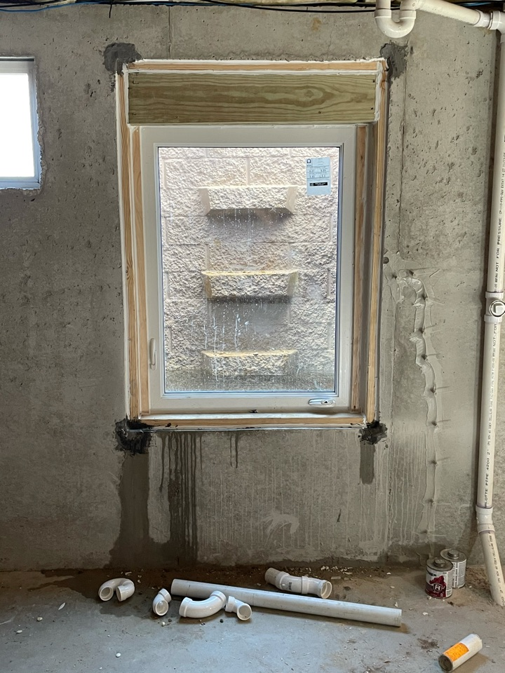 O'Fallon, MO - Not all egress windows are installed the same way.  We are tearing out and reinstalling a new egress window due to an improper installation.