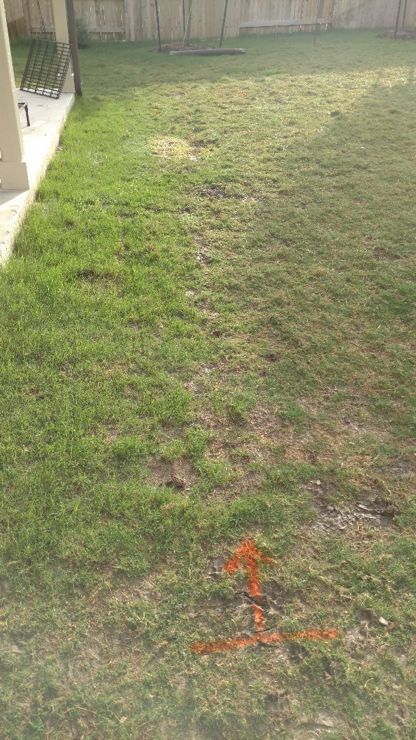 "Buda, TX - Grading Land, Connecting Gutter to a 4"" pipe, and French Drain w/sand based sod. This drainage repair will eliminate water standing at the back patio after rain and irrigation"