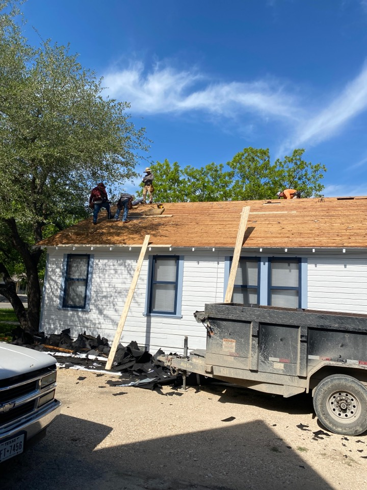 Lockhart, TX - Tear off is completed. Repairing rotten and damaged decking.