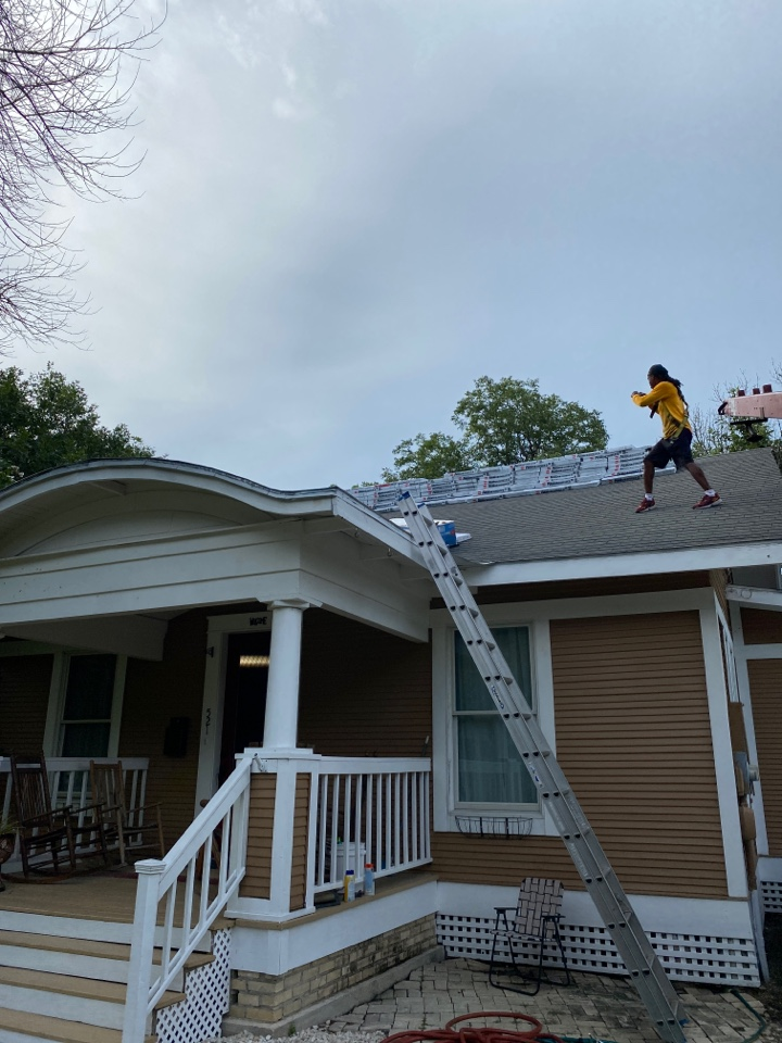 Lockhart, TX - Checking on the material delivered for the GAF lifetime warrantied roof system