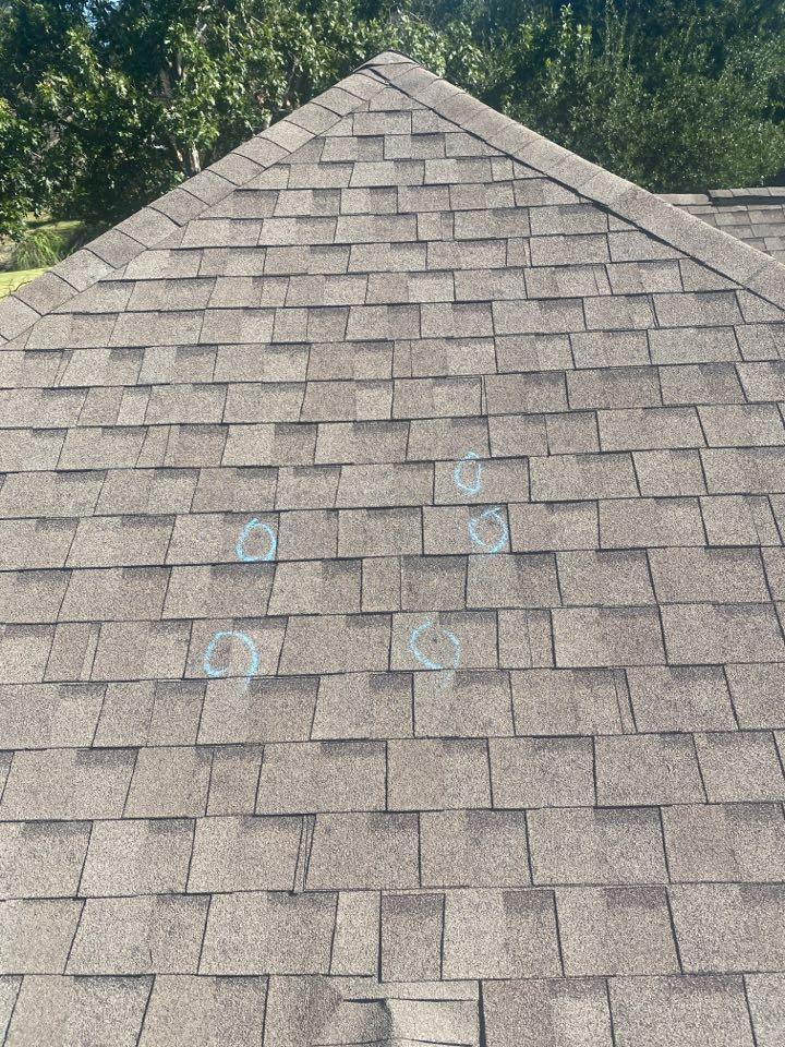 Austin, TX - Inspecting a hail damaged roof