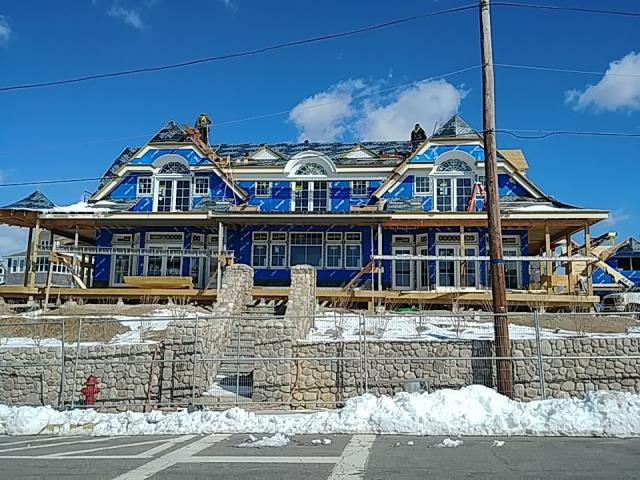 Westerly, RI - Exterior Trim progress on New Construction, Wood Roof installation just started.