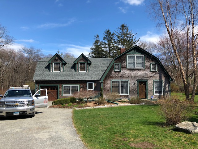 Point Judith, RI - Installed a new GAF roof with system plus warranty, using Gaf Timberline HD shingles.Replaced rotten tri, and installed new Velux skylights with solar blinds.