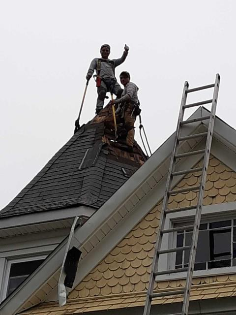 Groton, CT - Starting to reroof a historic home in groton CT today. Removing old shingles installing half inch cdx sheathing and a new GAF Timberline HD roofing shingle