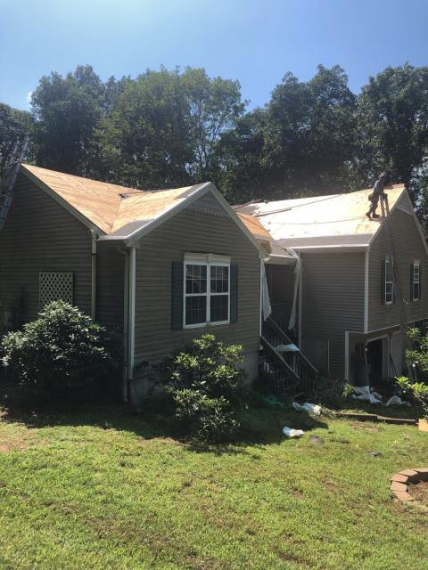 Griswold, CT - Removing old leaking roof and installing a new GAF roof system. Using GAF timberline HD shingles and all GAF accessories