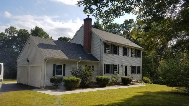 Sterling, CT - Finished in one day this new GAF roof system. Installed new GAF Timberline shingles color Slate.Golden pledge Warranty. White Aluminum seamless gutters