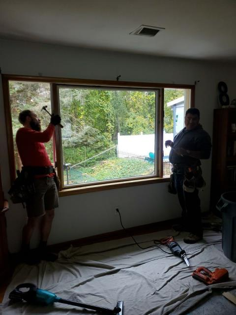Norwich, CT - Installing new harvey vinyl replacement windows after removing old drafty windows