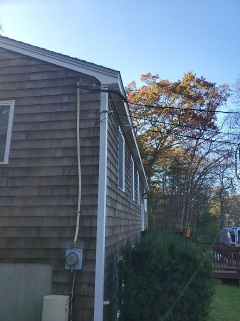 North Kingstown, RI - Just completed new vinyl soffit installation in South Kingstown RI on a home that we already replaced exterior trim with new AZEK trim and also a new GAF roof was installed.