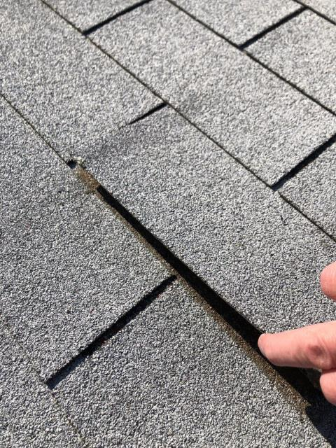 Charlestown, RI - Roof inspection shows dried out three tab shingles. These Three tab shingles are susceptible to high wind damage. A new Gaf Timberline Ultra HD shingle  will stand up much better to the high wind area along the shoreline.
