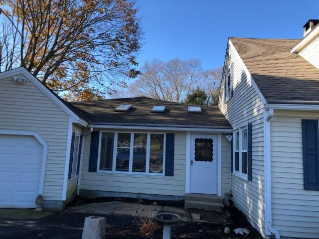 Exeter, RI - Measuring roof and skylights for replacement. Roof will be removed and a new GAF roof system will be installed. And new VELUX skylights will be installed to replace the old leaking skylights