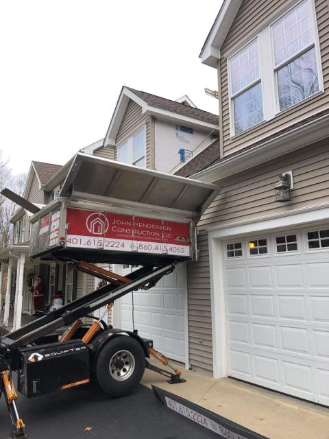 Montville, CT - Equipter is in use on a roof replacement in Montville Ct. New GAF roof being installed today.