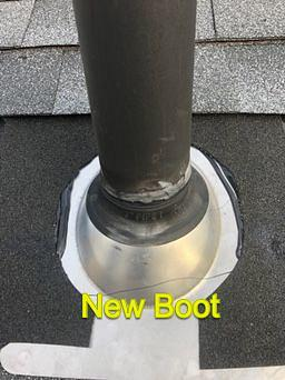 Plainfield, CT - Replacing a pipe flashing in Plainfield Ct. Roof is 16 years old. Roof tune up was performed
