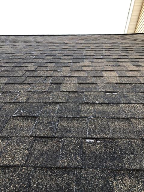 North Stonington, CT - This roof has lost a lot of its life from being power washed. Never power wash your roof! Hire a professional roofing company to properly remove debris from your roof. This roof has lost a large amount of its granular which is the roofs first layer of protection. You can see the fiberglass mat coming thru. A Brand new GAF Timberline HDZ shingle will look nice on this house.