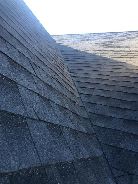 Ledyard, CT - Just completed this new roof Replacement in Ledyard CT. This is a view from the roof of the new GAF HDZ Timberline shingles! Color is charcoal. Golden Pledge warranty.